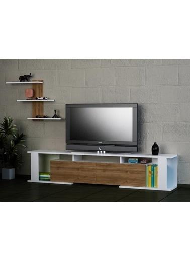 Dekorister Game Tv Ünitesi Beyaz-Ceviz Renkli